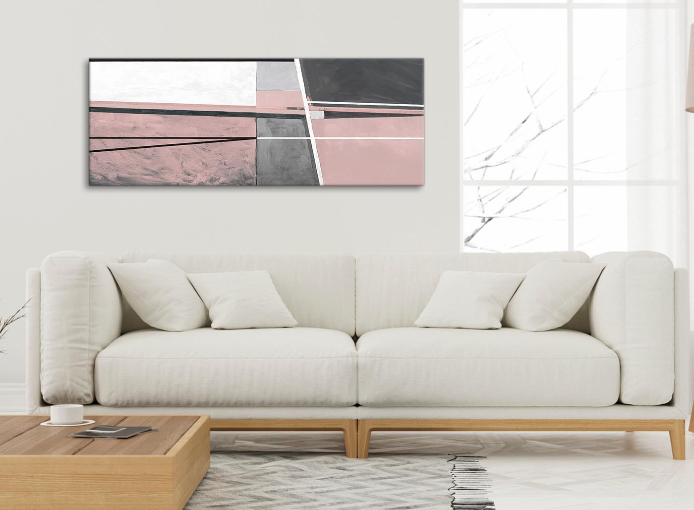 Blush Pink Grey Painting Living Room Canvas Wall Art