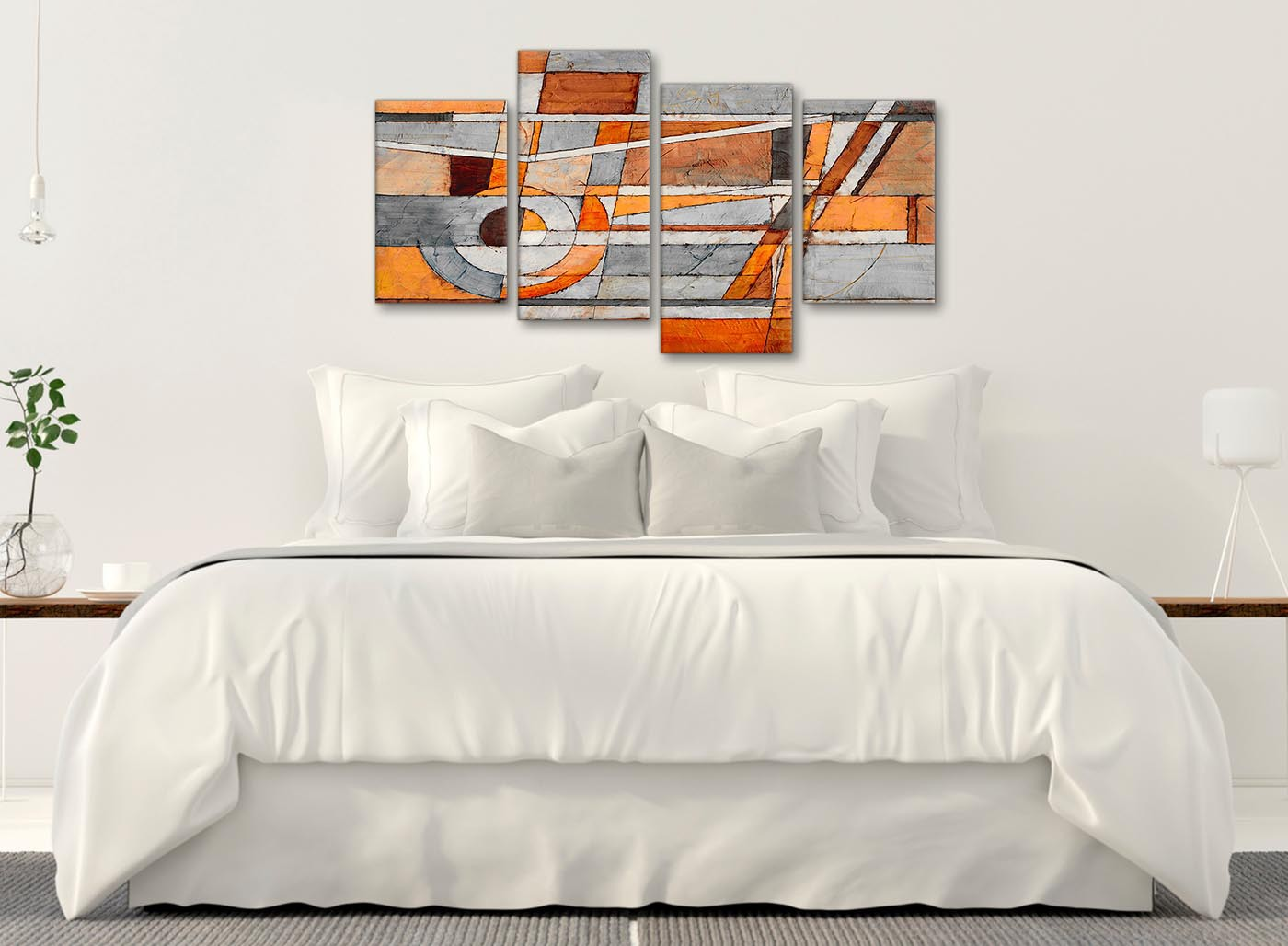 Art Décor: Large Burnt Orange Grey Painting Abstract Living Room