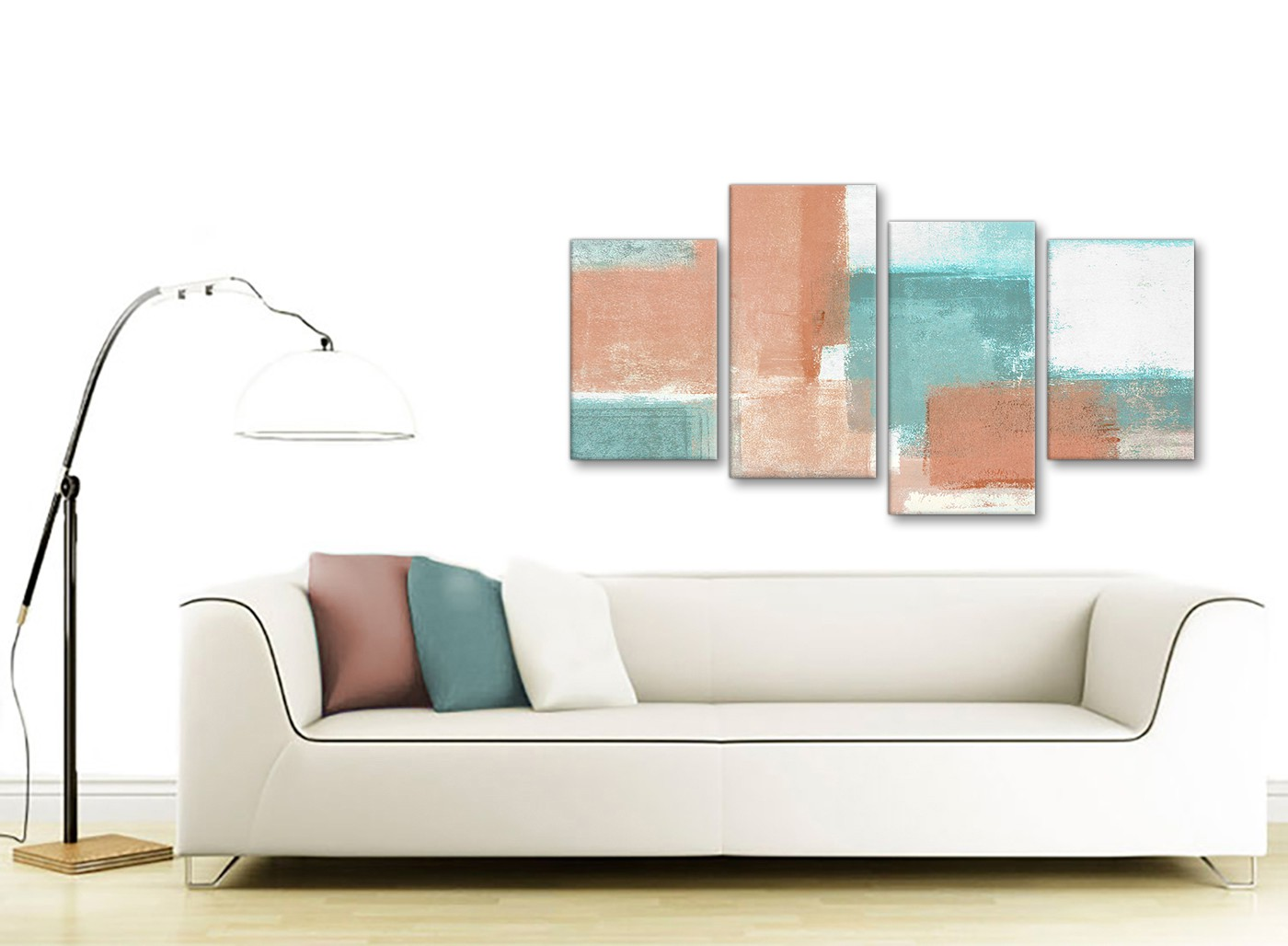 Large Coral Turquoise Abstract Bedroom Canvas Pictures Decor 4366 130cm Set Of Prints