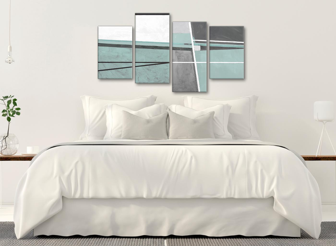 Large Duck Egg Blue Grey Painting Abstract Bedroom Canvas