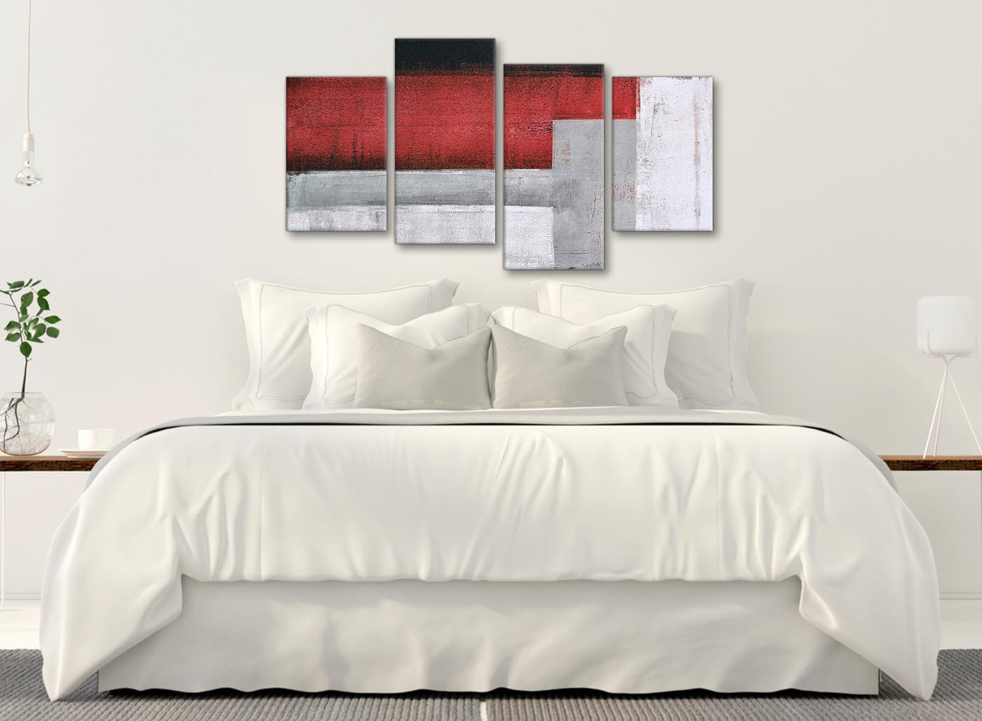 Large Red Grey Painting Abstract Bedroom Canvas Wall Art