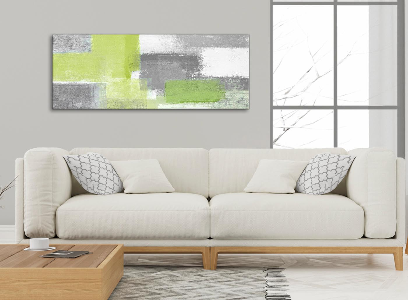 Lime green grey living room canvas wall art accessories abstract 1369 120cm print for Lime green accessories for living room
