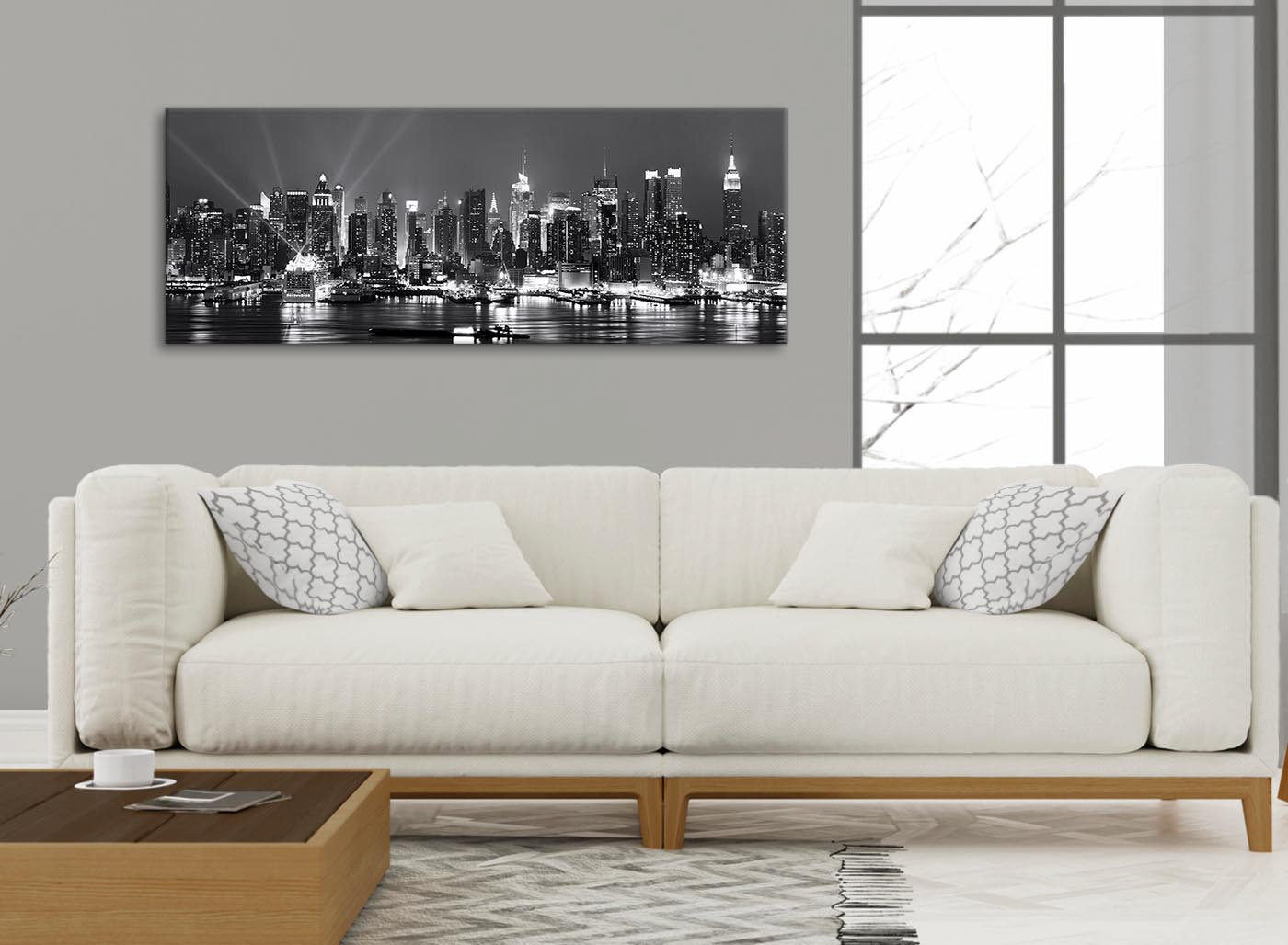 New York Hudson River Skyline Canvas Art Pictures Landscape Black White Grey