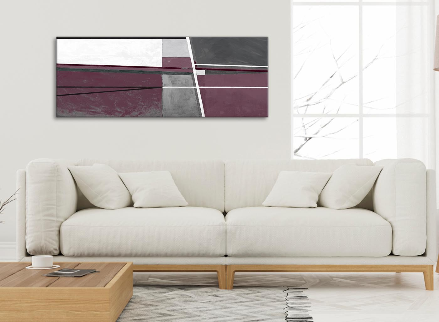 Plum purple grey painting living room canvas wall art - Purple and grey living room accessories ...