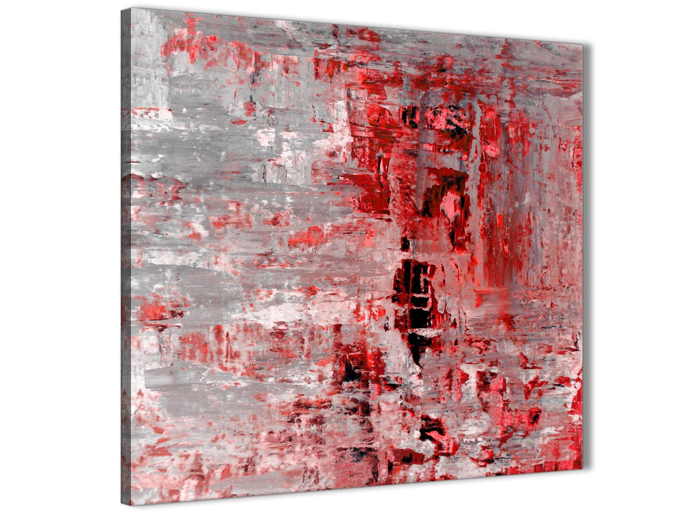 Red Grey Painting Abstract Dining Room Canvas Pictures Accessories 1s414l 79cm Square Print