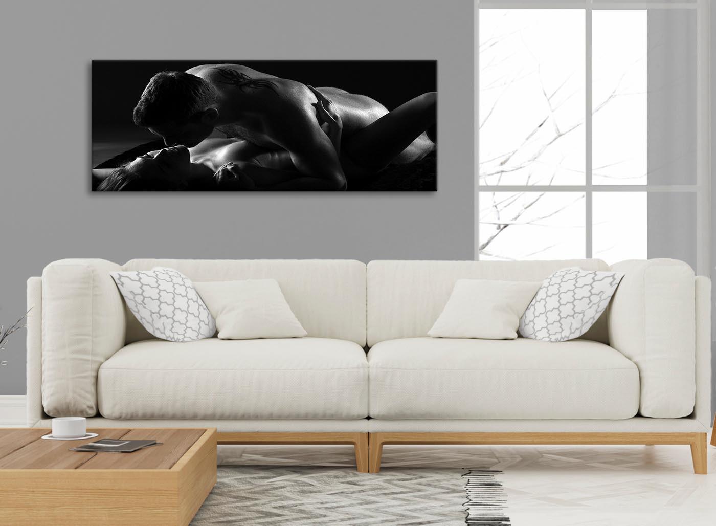 Romantic Nude Couple Erotica Canvas Art Pictures - 1444 Black White - 120Cm Wide Print-7993