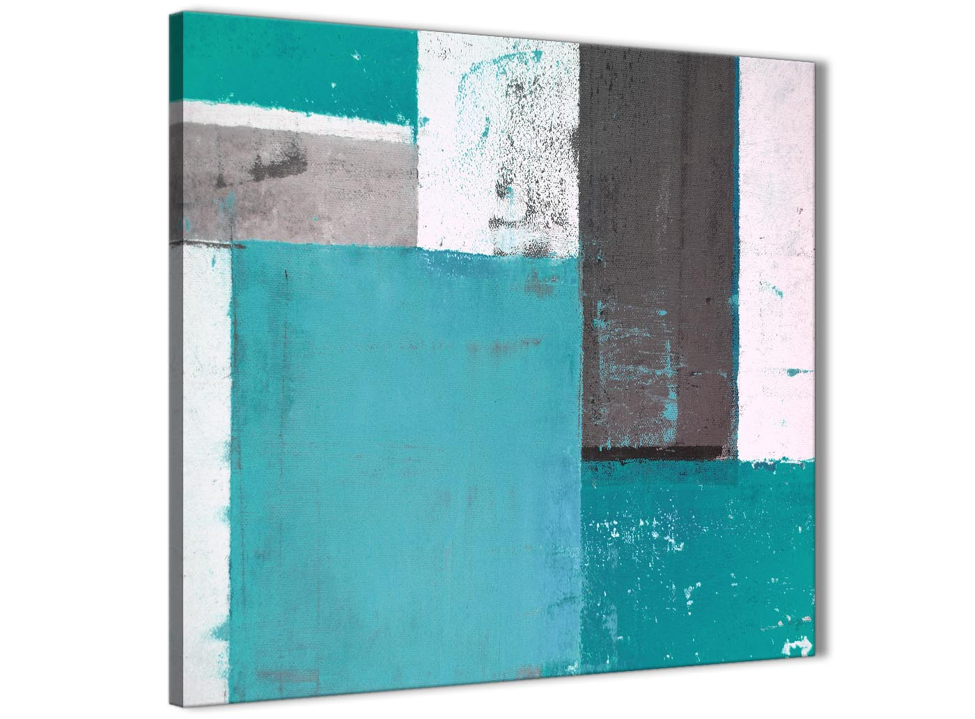 Brown And Blue Home Decor Teal Grey Abstract Painting Canvas Wall Art Modern 79cm