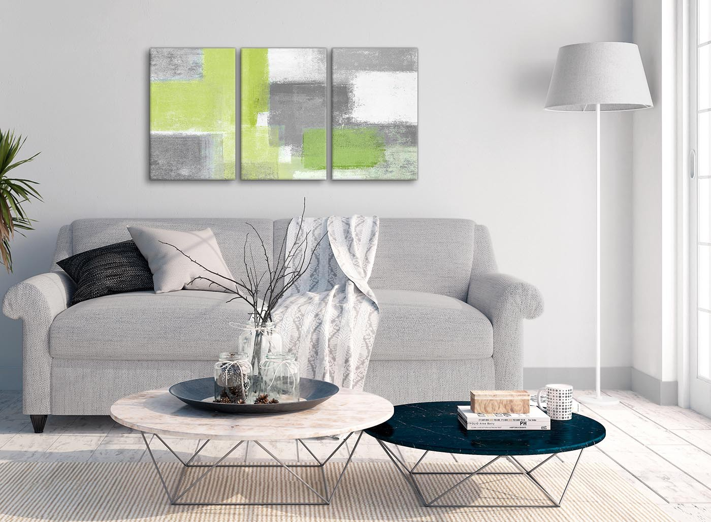 3 Piece Lime Green Grey Hallway Canvas Pictures Decor