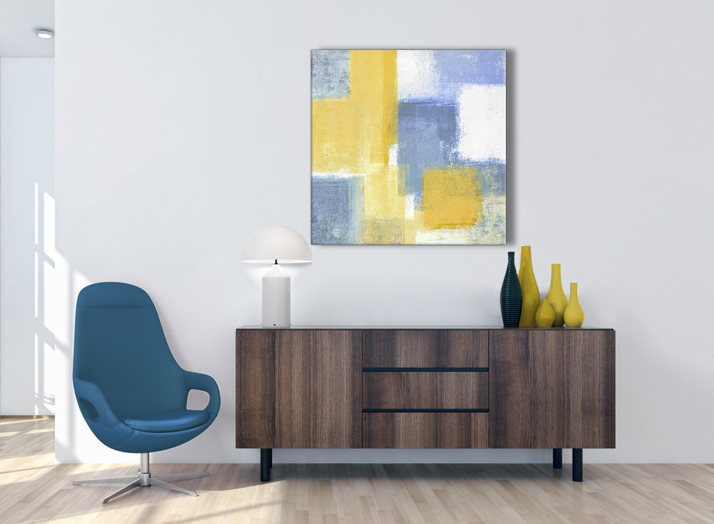 Mustard Yellow Blue Abstract Office Canvas Wall Art Decor
