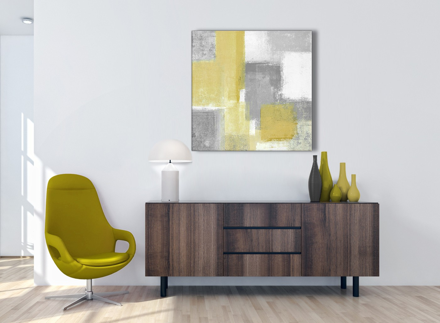Mustard Yellow Grey Abstract Living Room Canvas Pictures