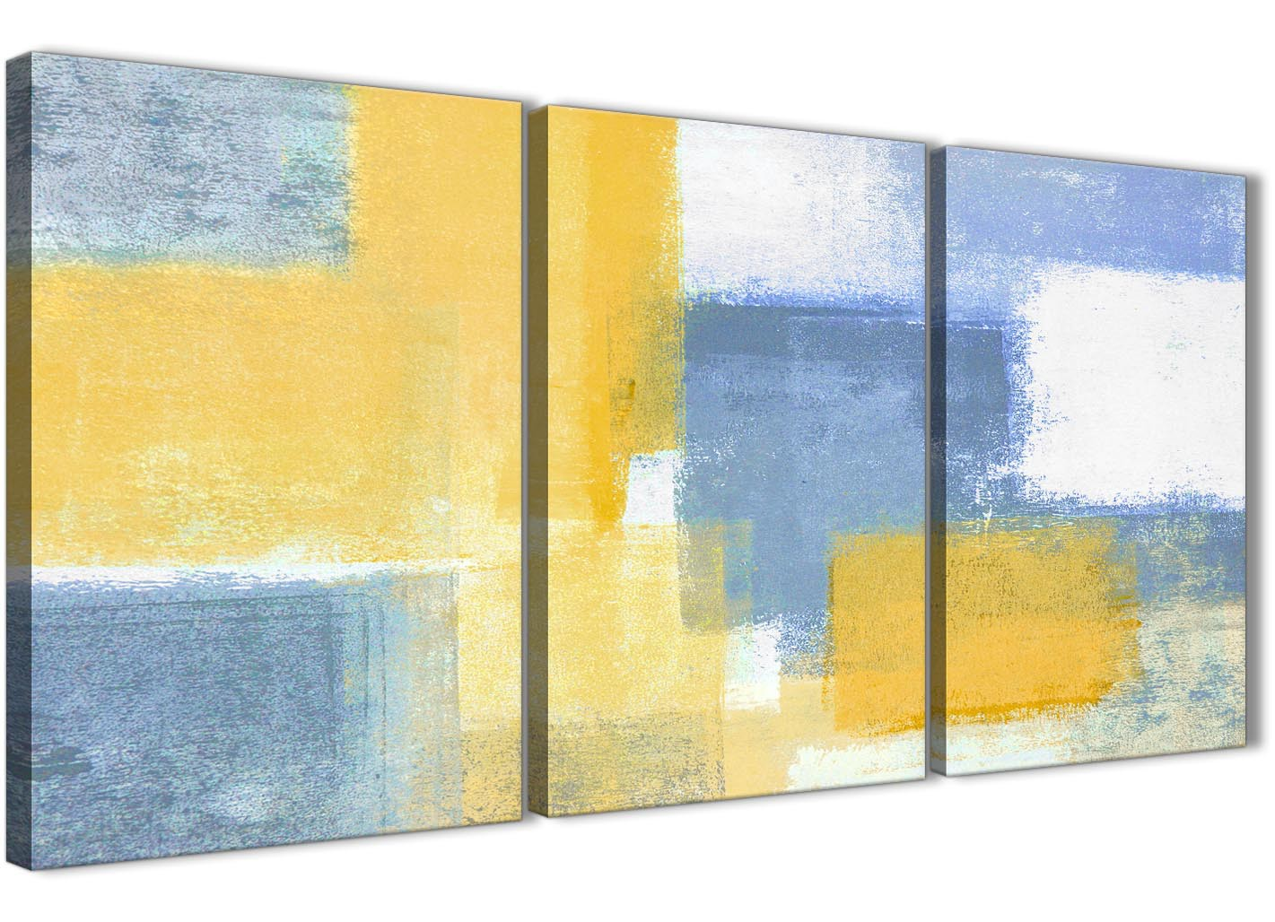 3 Piece Mustard Yellow Blue Kitchen Canvas Pictures Decor - Abstract ...