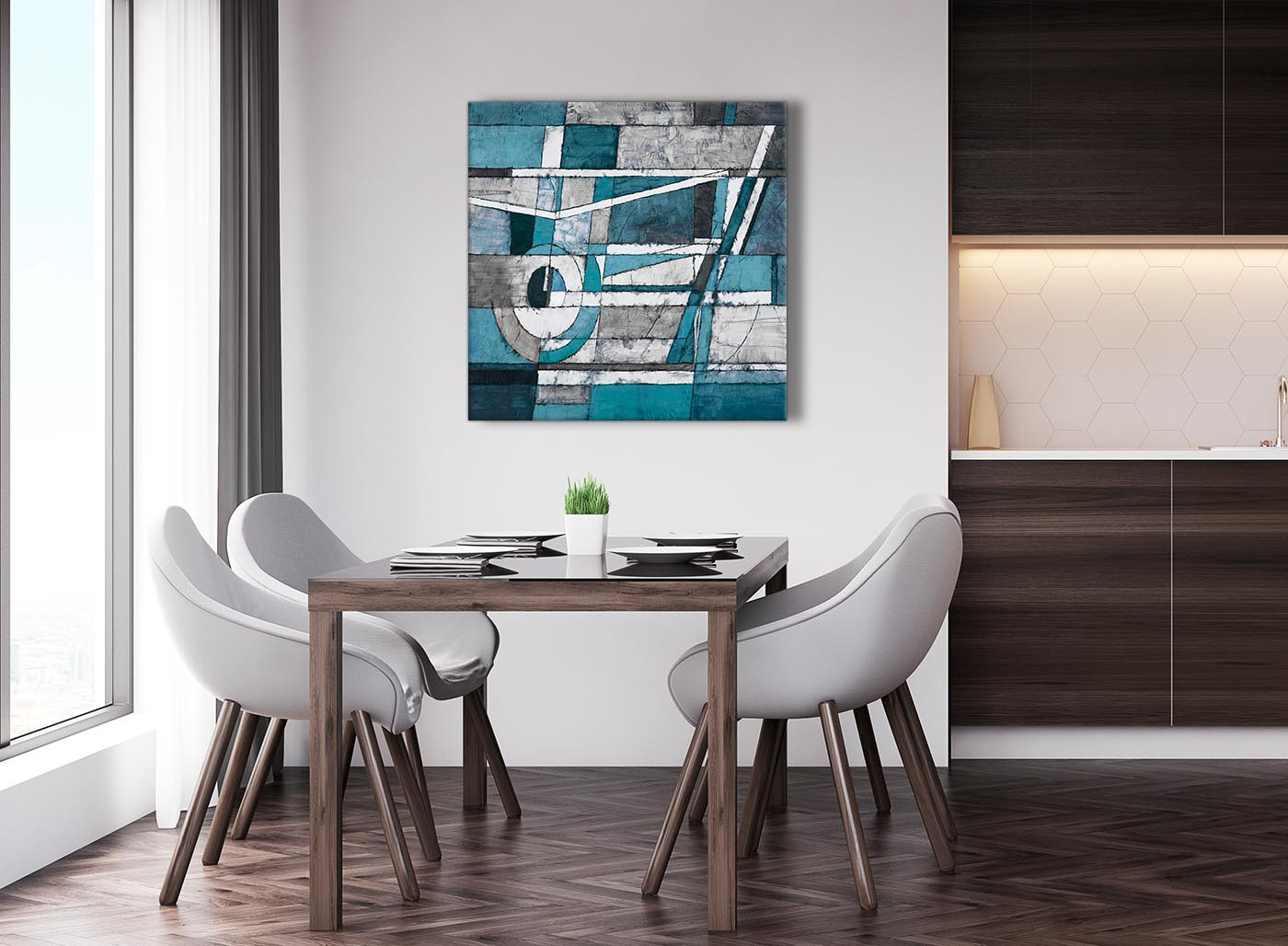 Teal grey painting abstract dining room canvas pictures for Dining room wall art uk