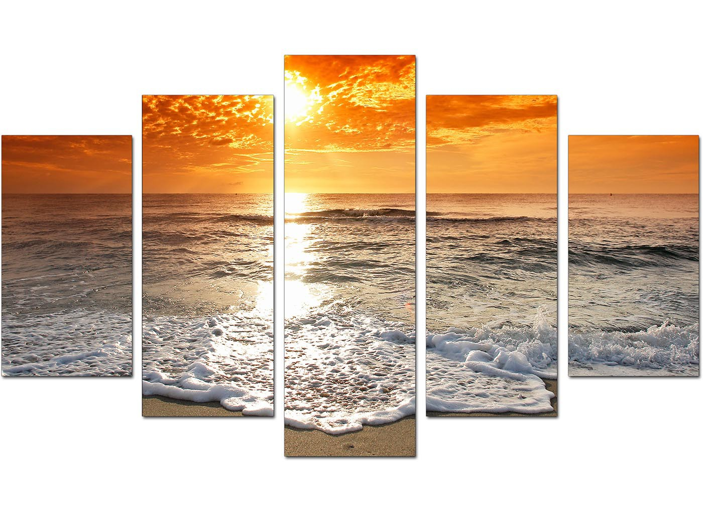 Beach Sunset Canvas Prints For Your Living Room 5 Part