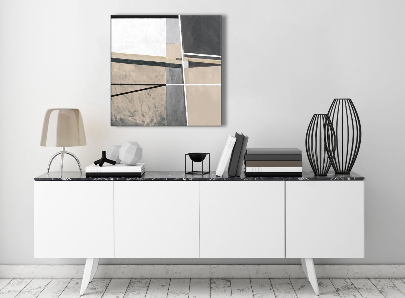 Beige Cream Grey Painting Stairway Canvas Wall Art