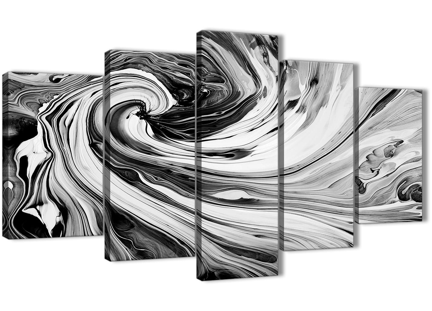 Extra Large Black White Grey Swirls Modern Abstract Canvas