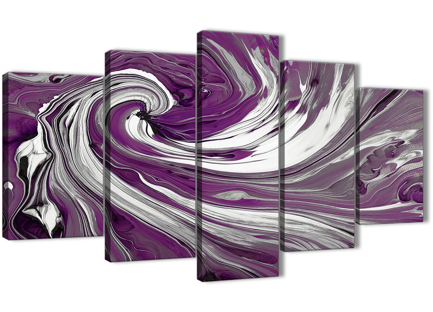 Extra Large Purple White Swirls Modern Abstract Canvas