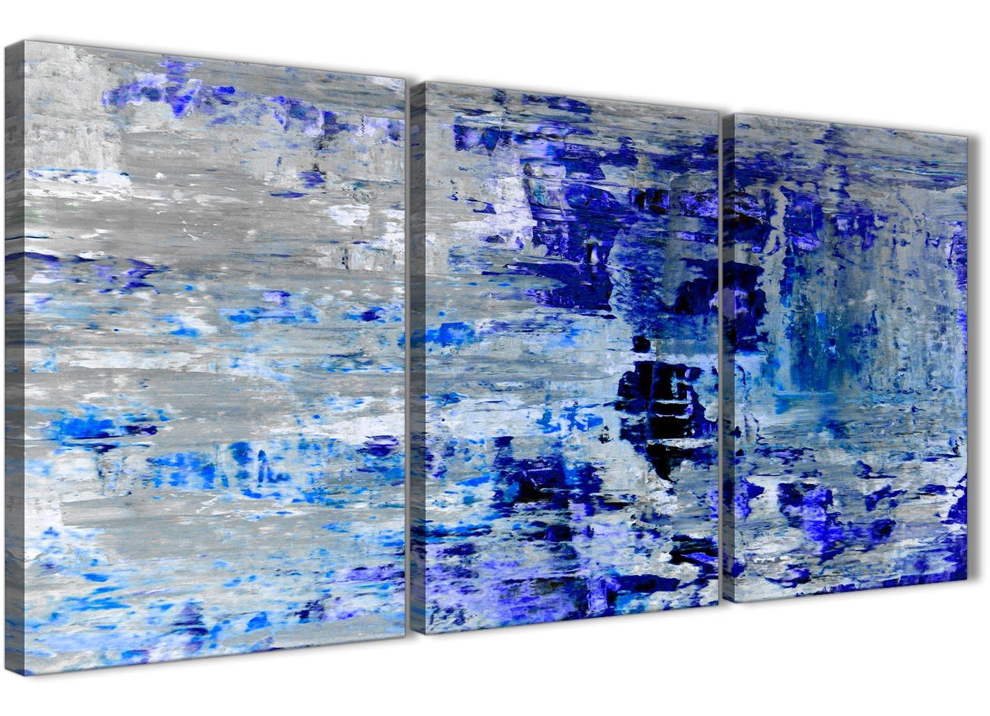 Indigo Blue Grey Abstract Painting Wall Art Print Canvas