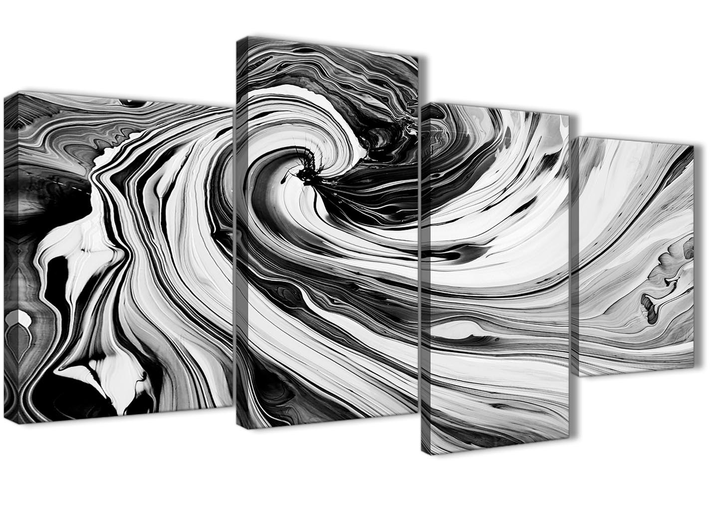 Large Black White Grey Swirls Modern Abstract Canvas Wall