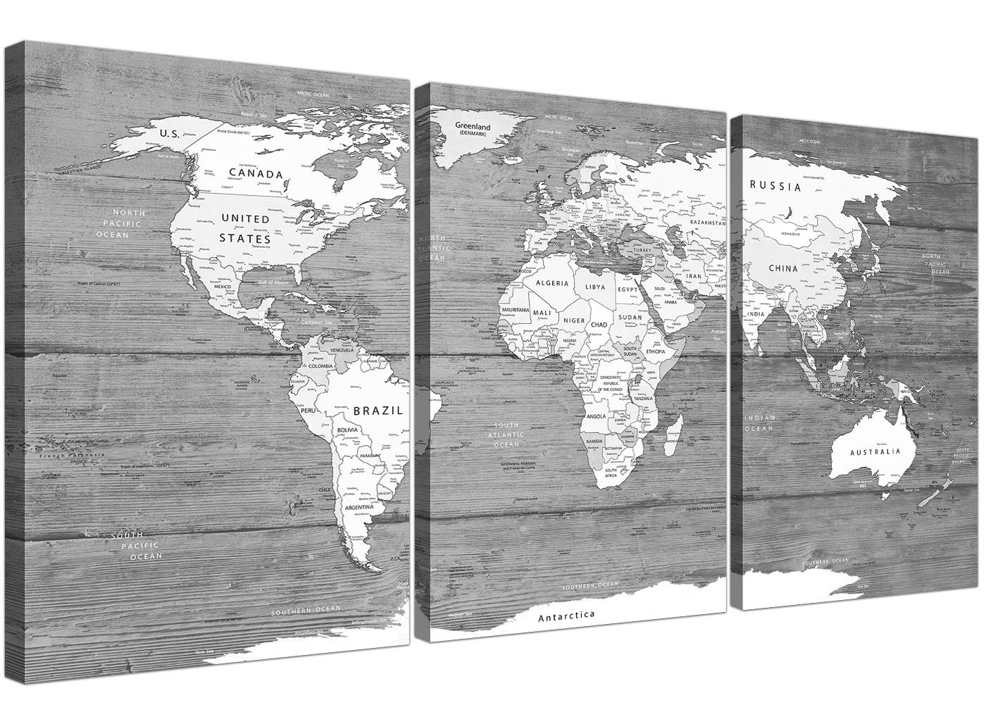 Large black white map of world atlas canvas wall art print split large black white map of world atlas canvas wall art print multi set of 3 3315 gumiabroncs Images