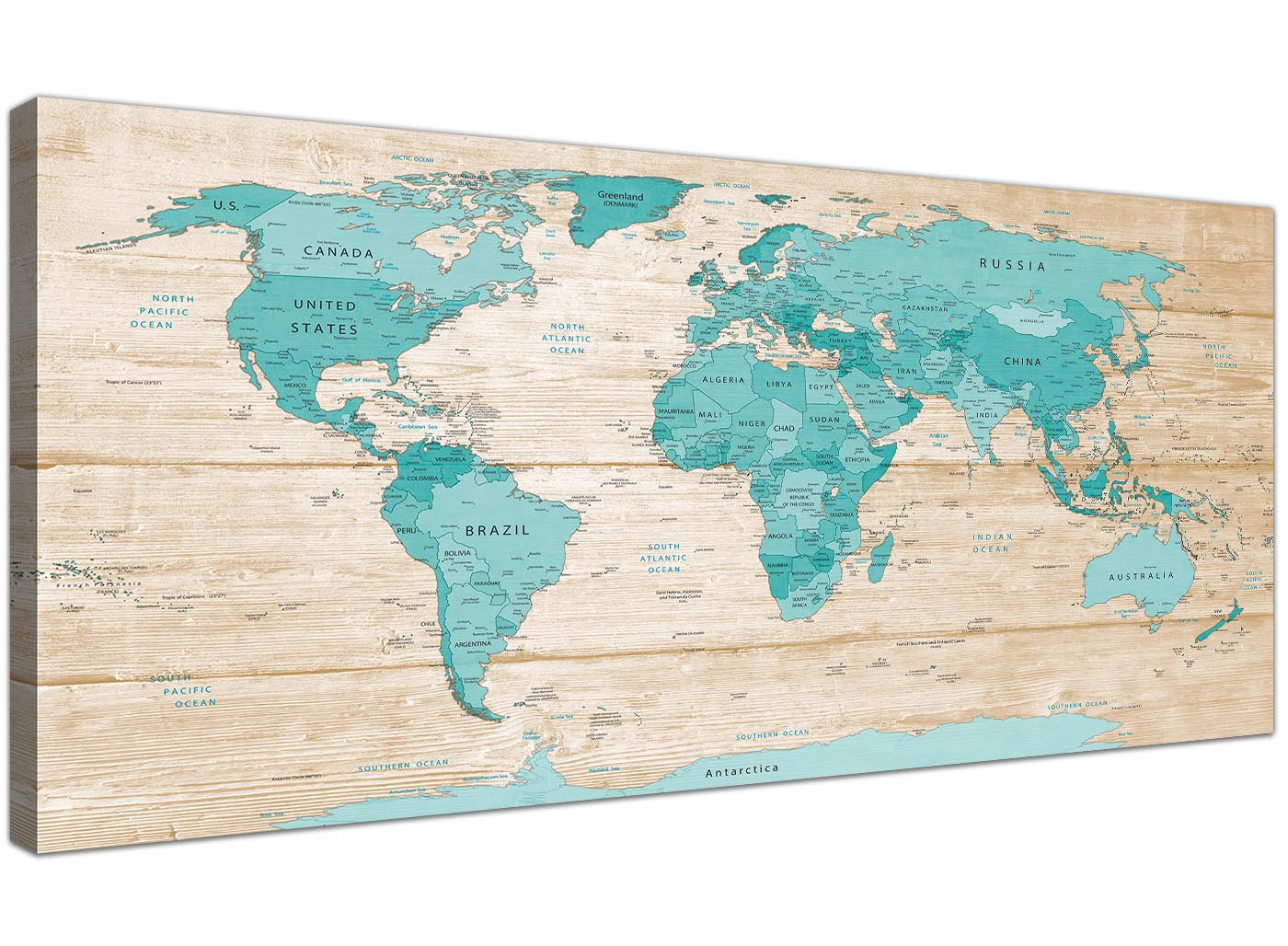 Large teal cream map of world atlas canvas wall art prints modern large teal cream map of world atlas canvas wall art prints modern 120cm wide 1313 gumiabroncs Gallery