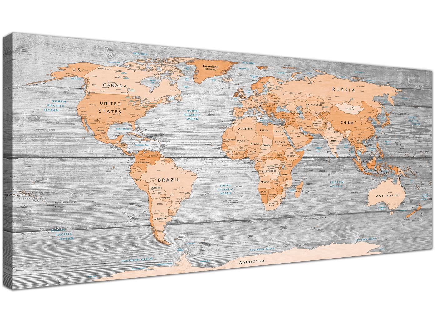 Large orange grey map of world atlas canvas wall art print modern large orange grey map of world atlas canvas wall art print modern 120cm wide 1304 gumiabroncs Image collections