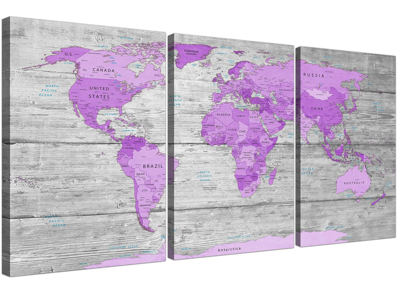 Large Purple And Grey Map Of World Atlas Canvas Wall Art