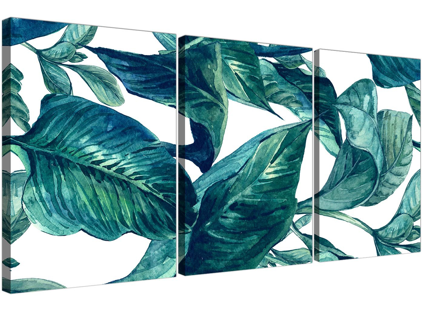 Teal Blue Green Tropical Exotic Leaves Canvas Wall Art