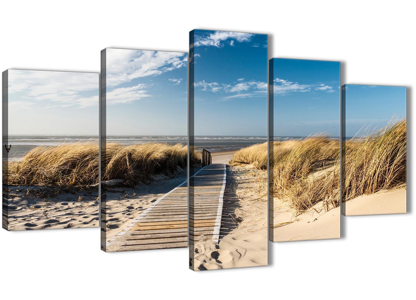 5 Piece Beach Landscape Canvas Wall Art Pictures Pathway