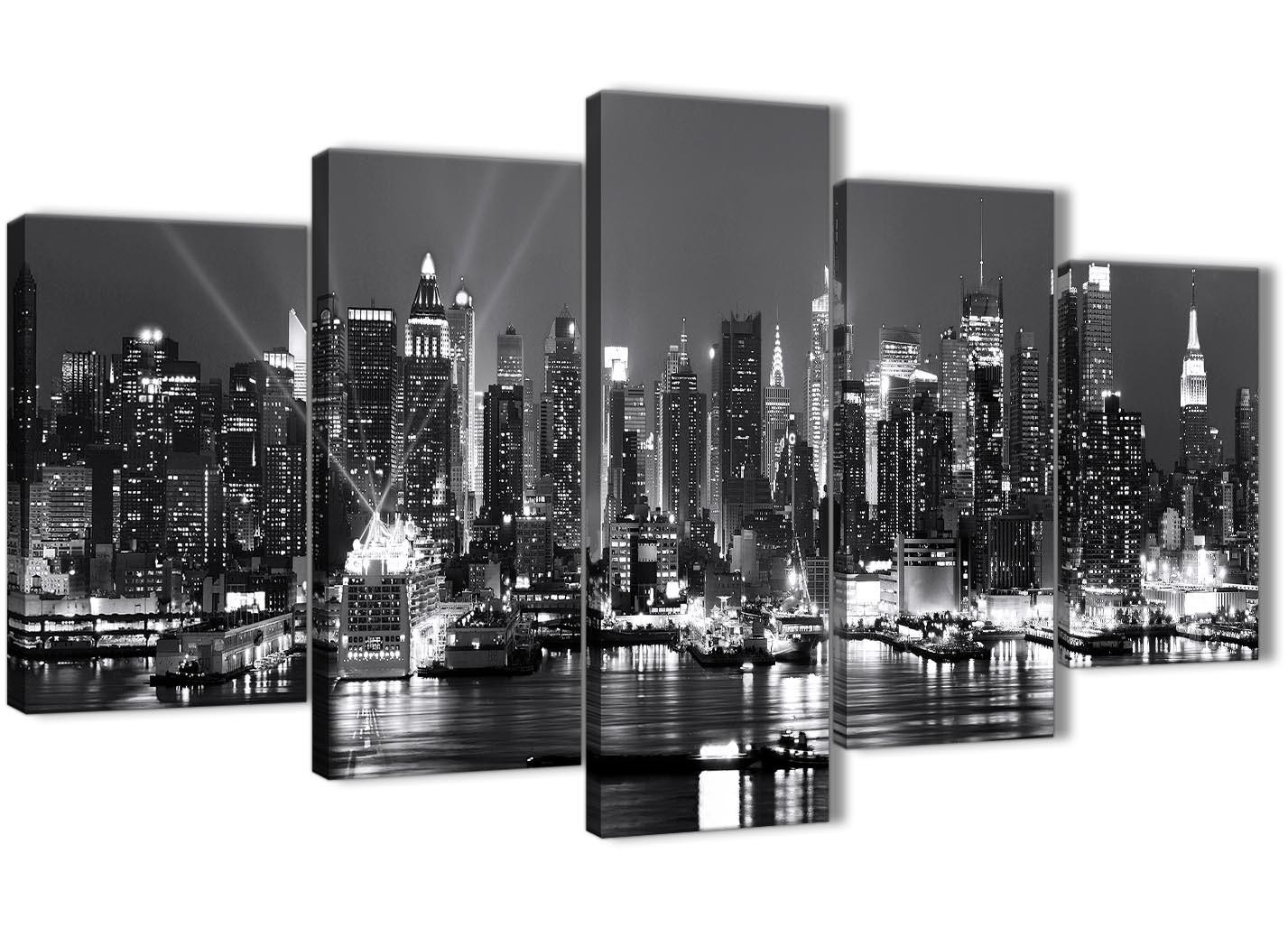 New York Skyline Canvas Wall Art Cityscape Black White