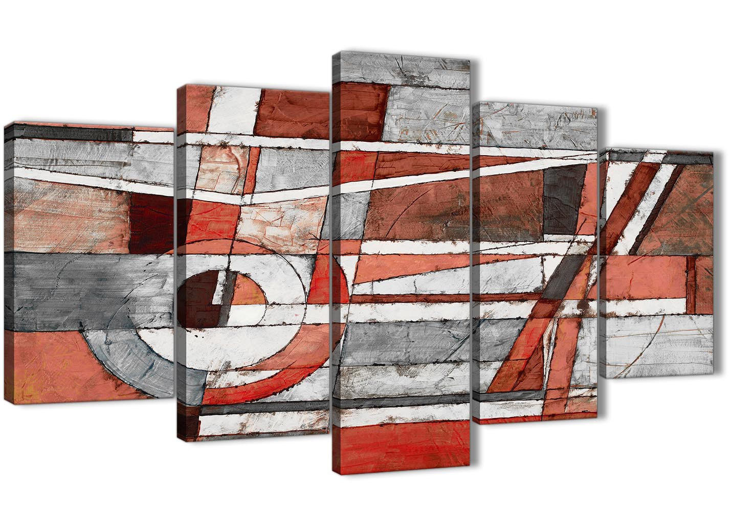 5 Piece Red Grey Painting Abstract Bedroom Canvas Pictures