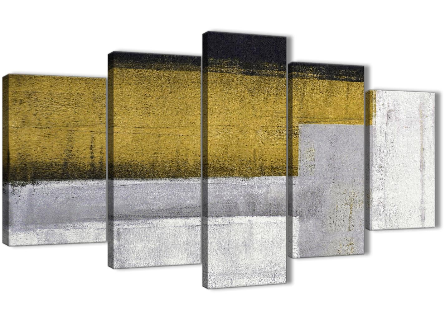 5 Piece Mustard Yellow Grey Painting Abstract Living Room Canvas ...