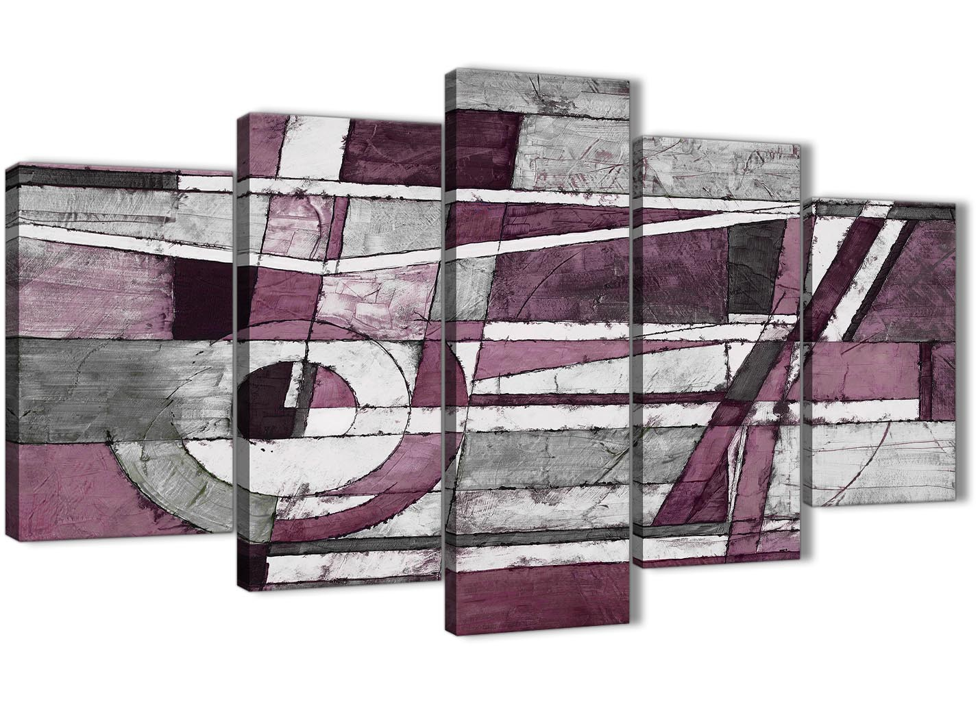 5 Piece Plum Grey White Painting Abstract Bedroom Canvas