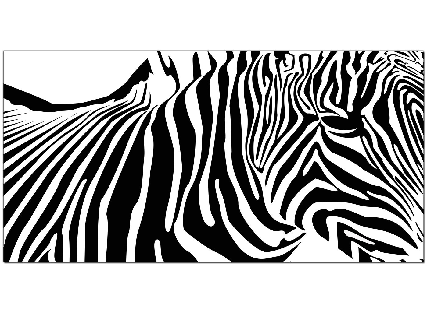 Cheap Black And White Canvas Art Of An Abstract Zebra