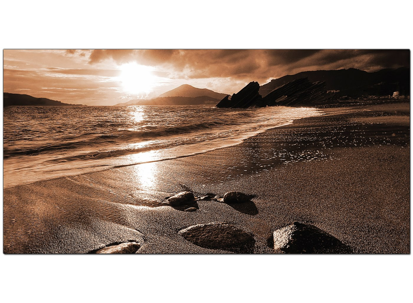 Modern Brown Canvas Prints Of A Beach Sunset