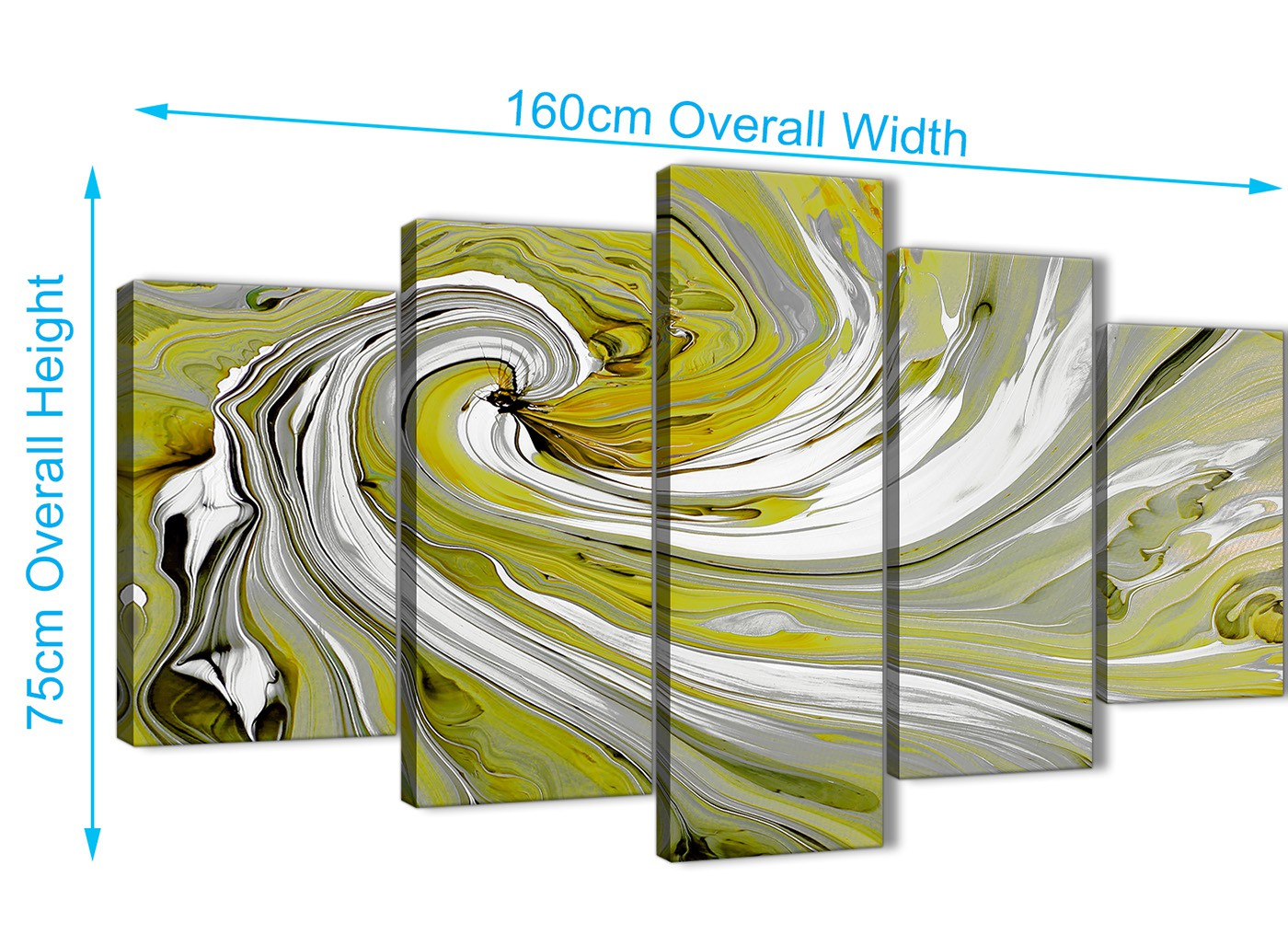 Extra Large Lime Green Swirls Modern Abstract Canvas Wall Art ...