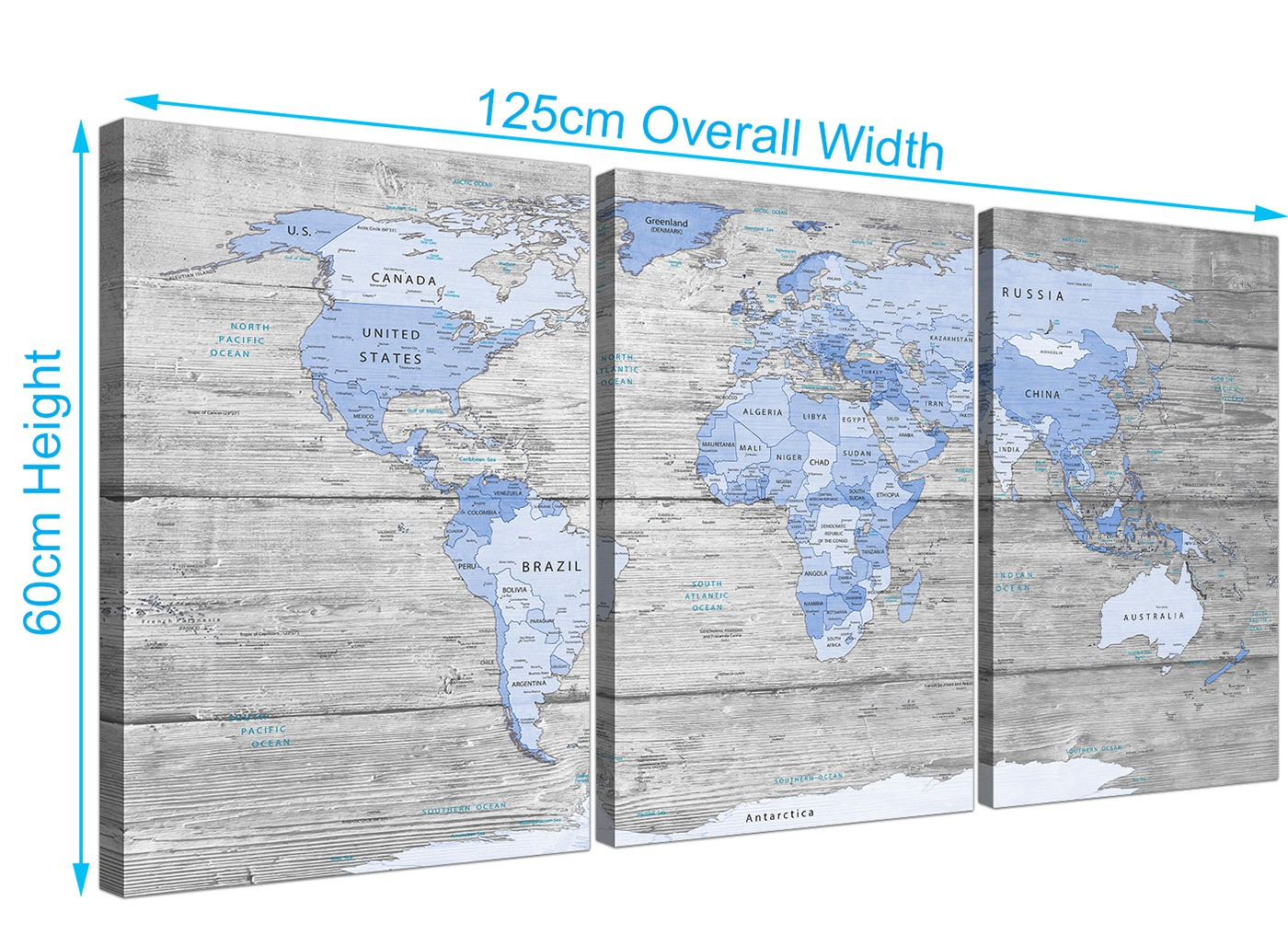 Large blue grey map of world atlas canvas multi 3 part 3303 overall size 125cm x 60cm gumiabroncs Image collections