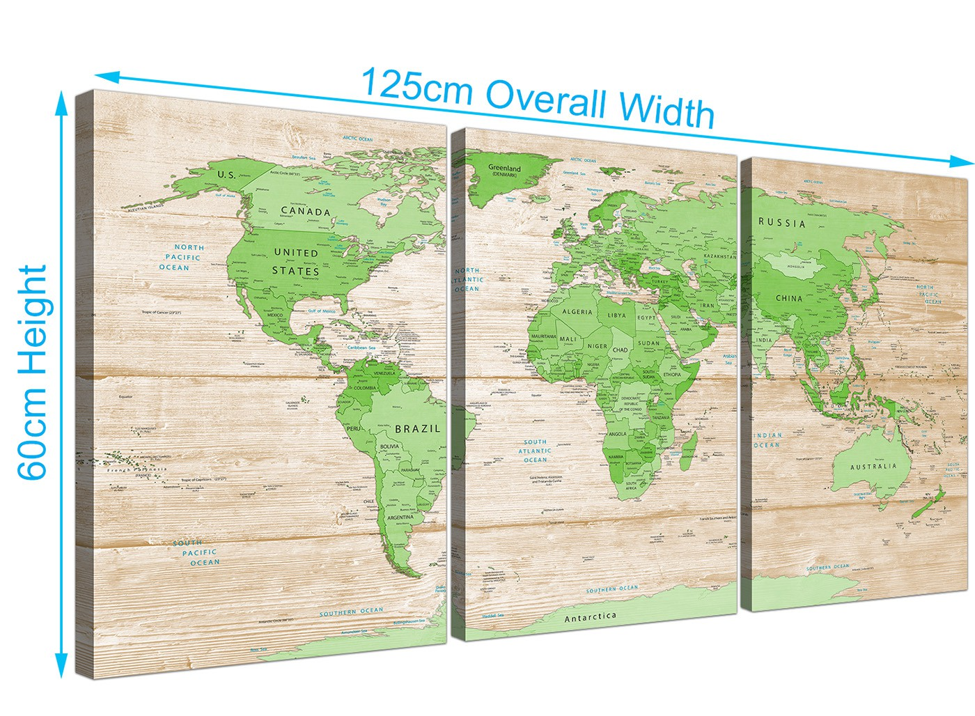 Large Lime Green Cream World Map Atlas Canvas Wall Art