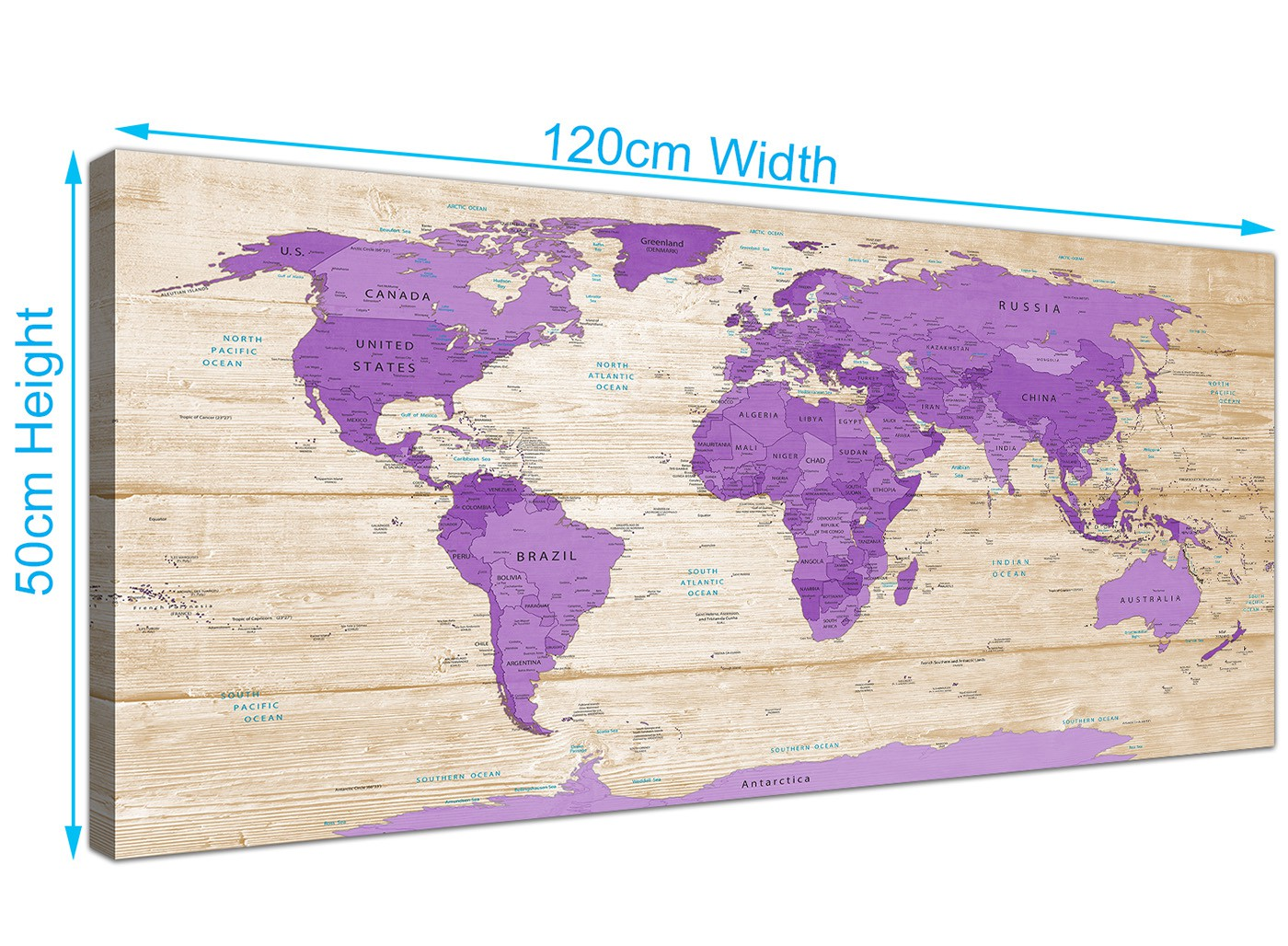 Large Purple Cream Map Of The World Atlas Canvas Wall Art