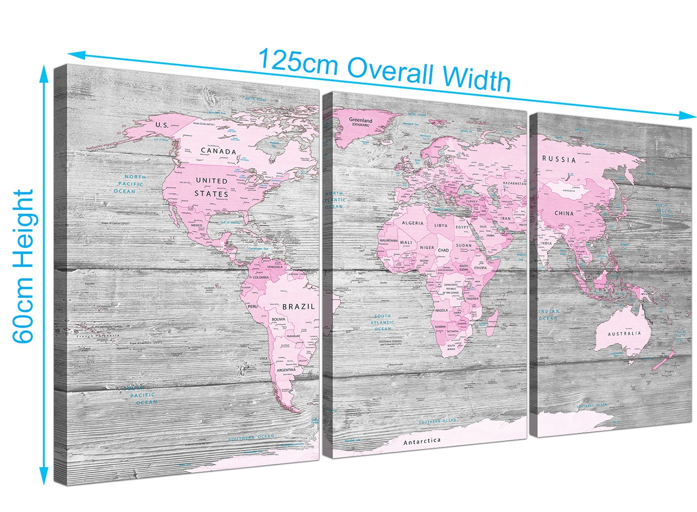 Large Pink Grey Map Of World Atlas Canvas Wall Art Print