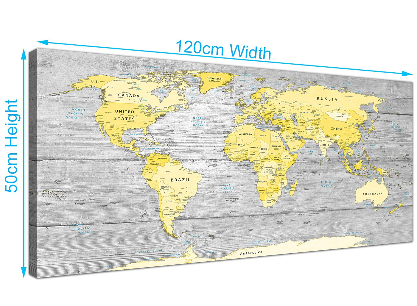 Large yellow grey map of world atlas canvas wall art print maps overall size 120cm x 50cm gumiabroncs Images