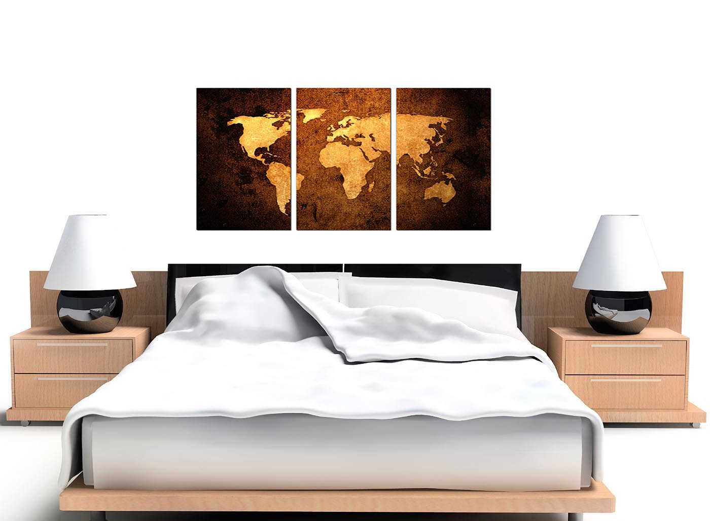 Vintage world map canvas wall art set of 3 for your bedroom modern vintage old world map brown cream canvas set of 3 125cm 3188 gumiabroncs Gallery