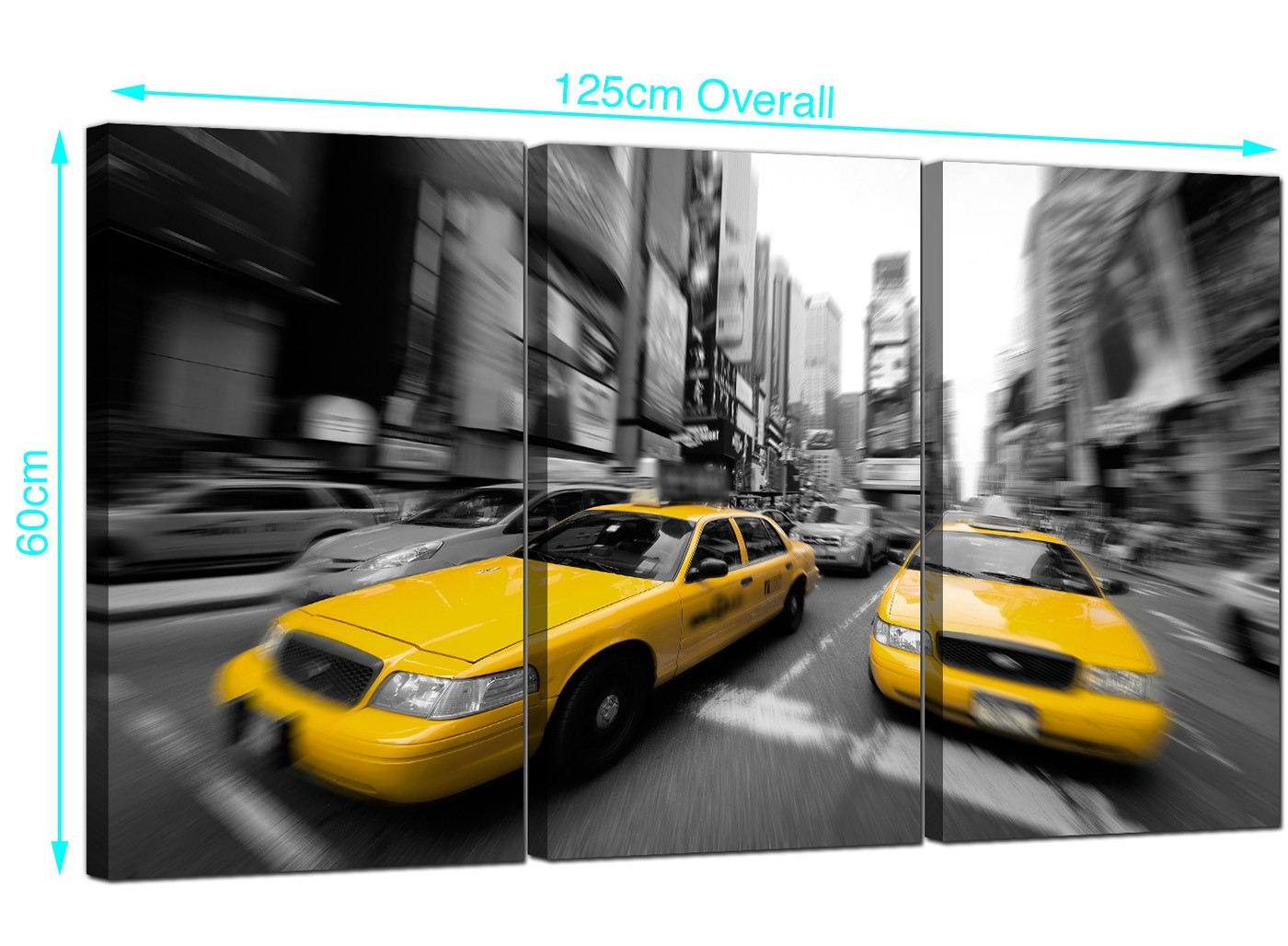yellow new york taxis canvas wall art 3 panel for your office. Black Bedroom Furniture Sets. Home Design Ideas