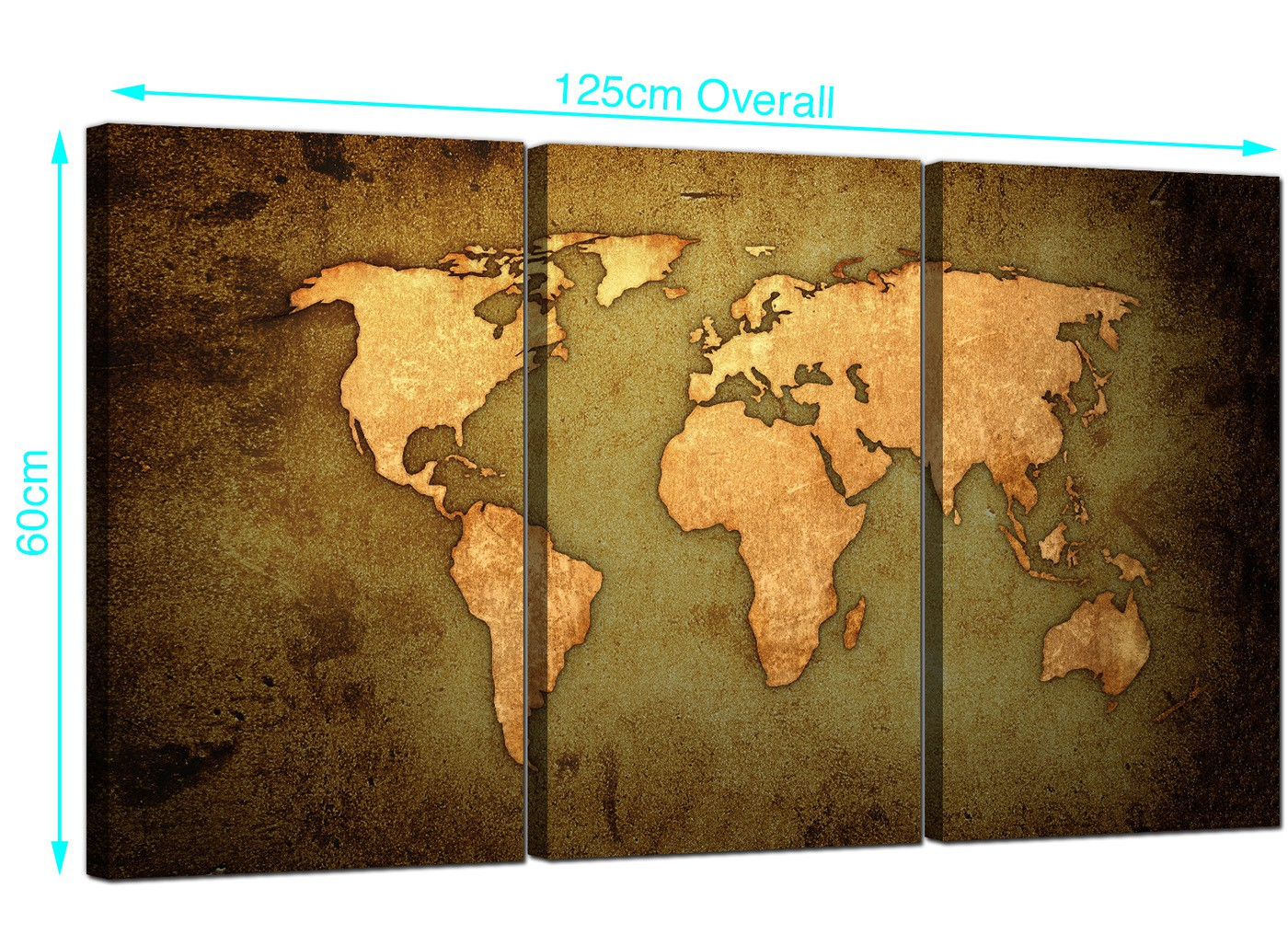 Old World Map Canvas.Vintage World Map Canvas Art Set Of Three For Your Study