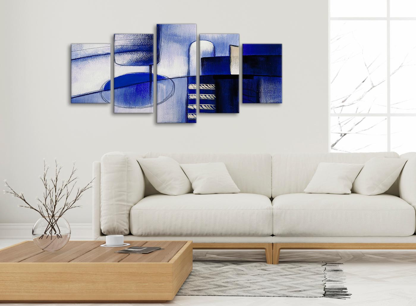5 Piece Indigo Blue Cream Painting Abstract Bedroom Canvas