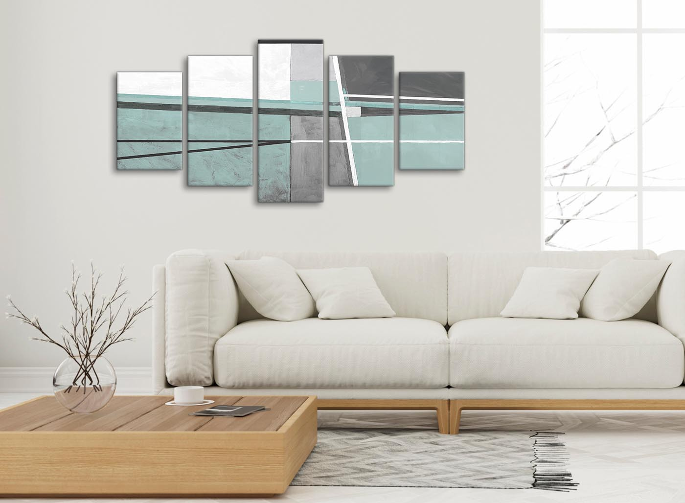5 Piece Duck Egg Blue Grey Painting Abstract Dining Room ...