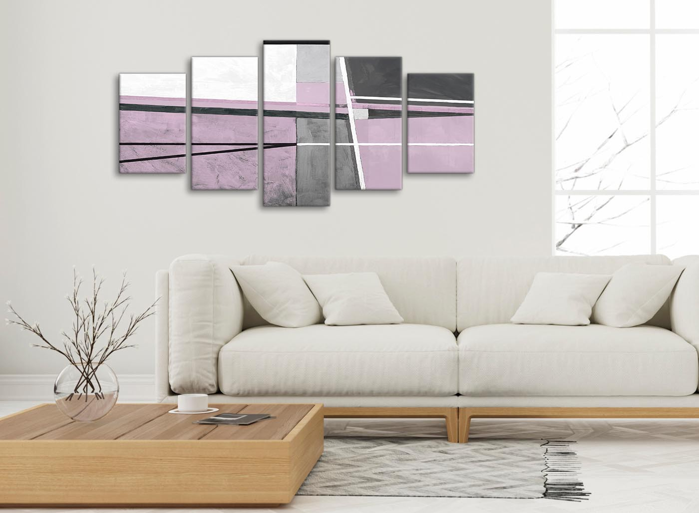 5 Piece Lilac Grey Painting Abstract Living Room Canvas Pictures ...