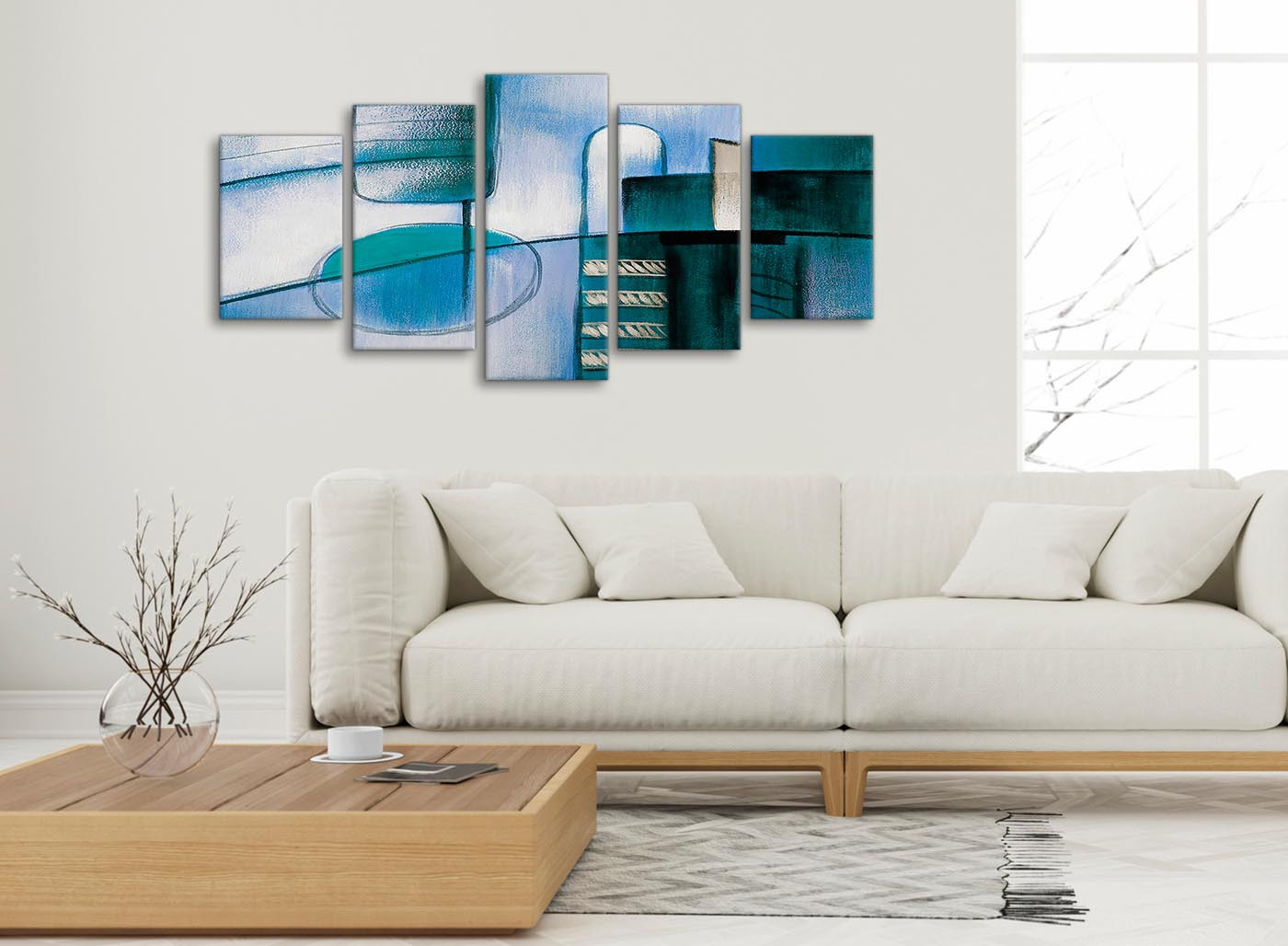 5 Piece Teal Cream Painting Abstract Living Room Canvas