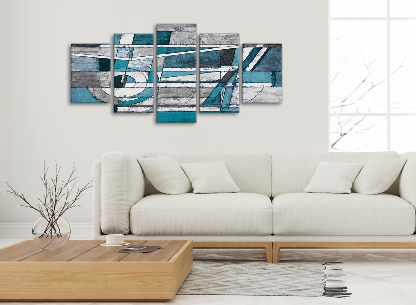 Canvas Wall Art Decor: 5 Panel Teal Grey Painting Abstract Bedroom Canvas Wall