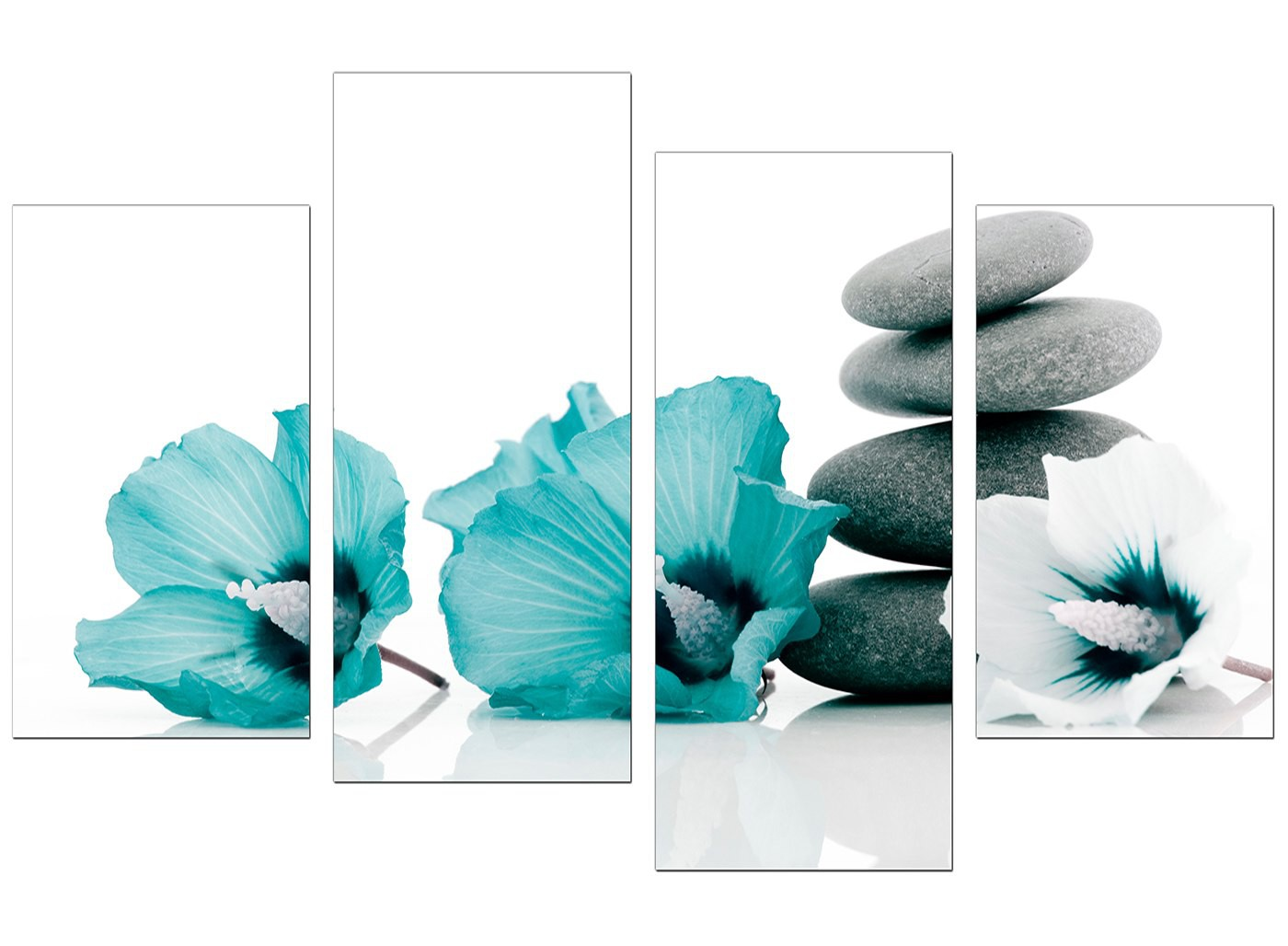 Living Room Wall Canvas Wall Art Of Flowers In Teal For Your Living Room