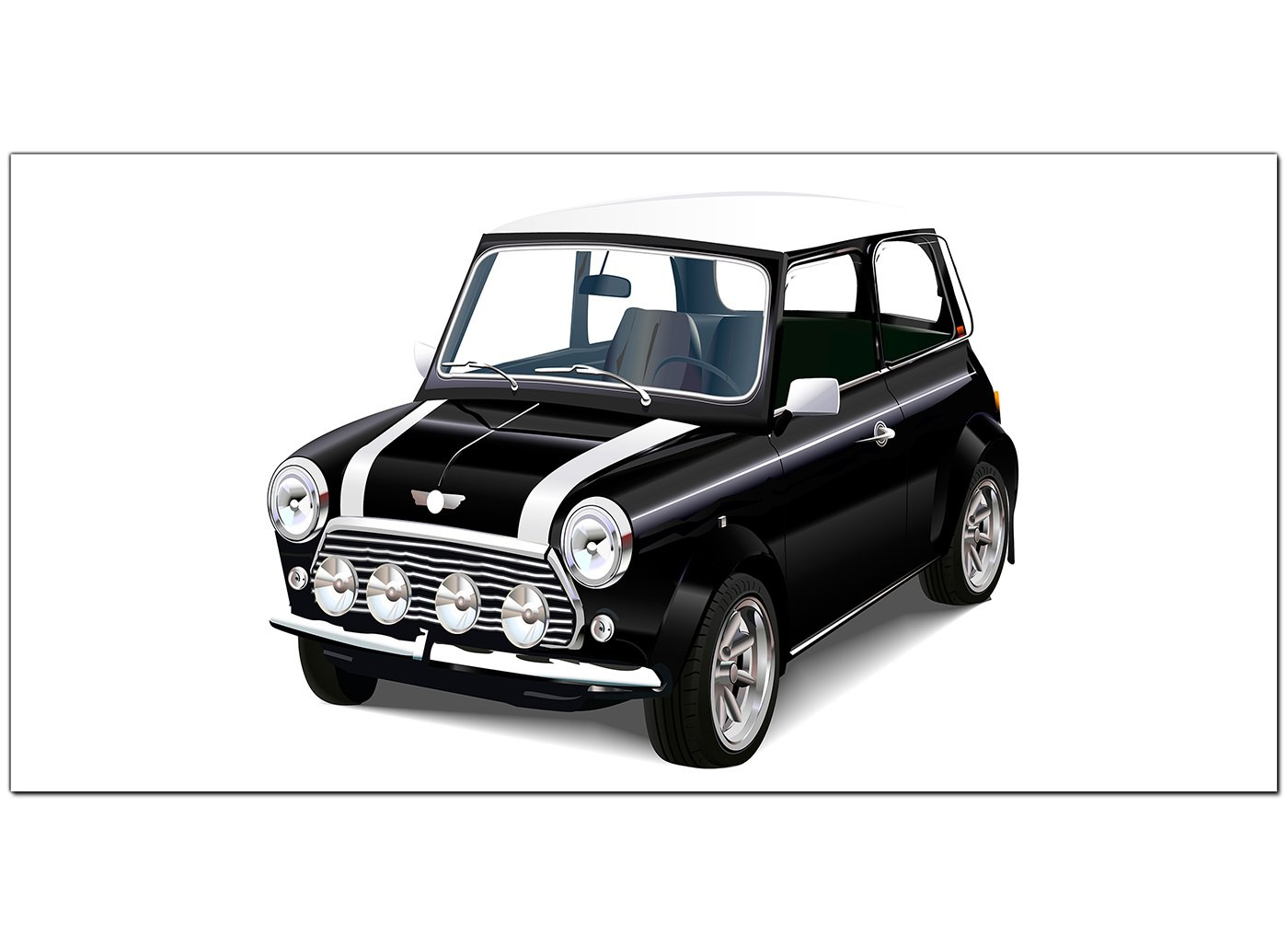 cheap black and white canvas pictures of a mini cooper car. Black Bedroom Furniture Sets. Home Design Ideas